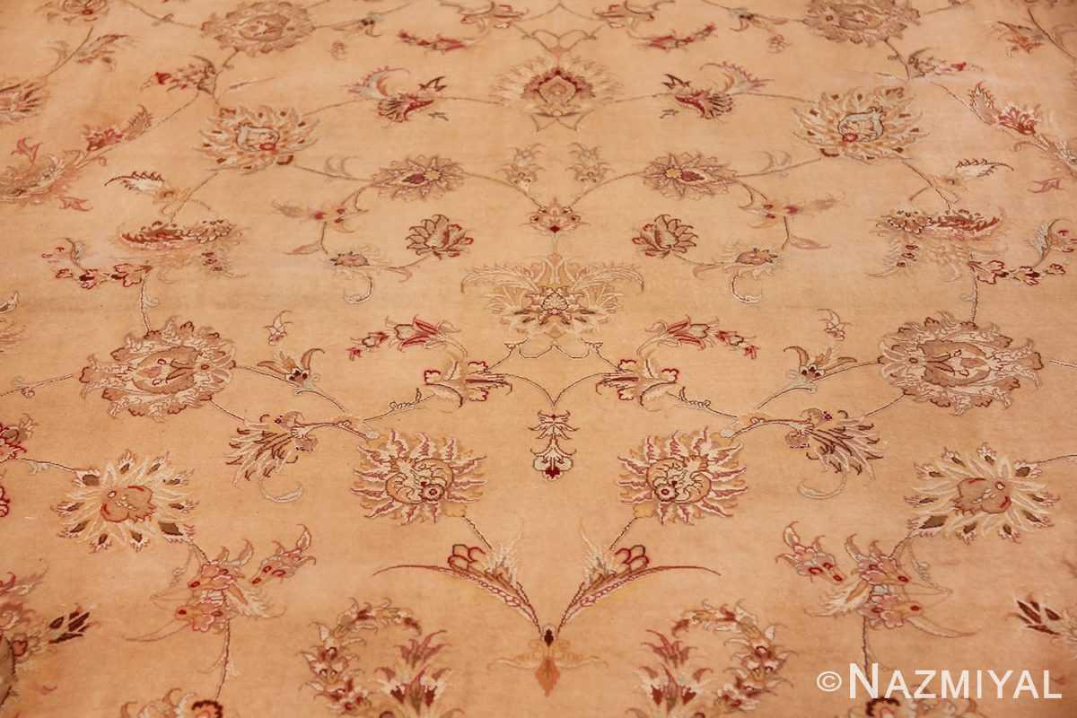 square silk and wool vintage tabriz persian rug 60026 design Nazmiyal