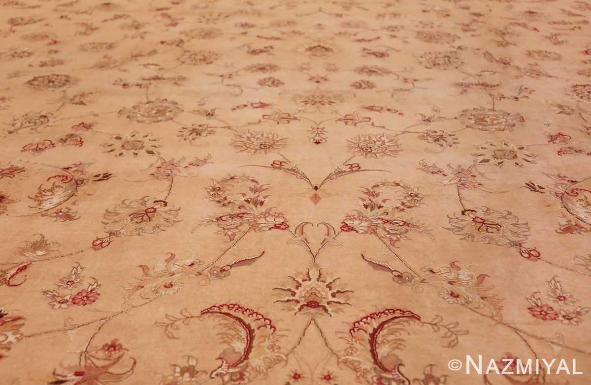 square silk and wool vintage tabriz persian rug 60026 field Nazmiyal