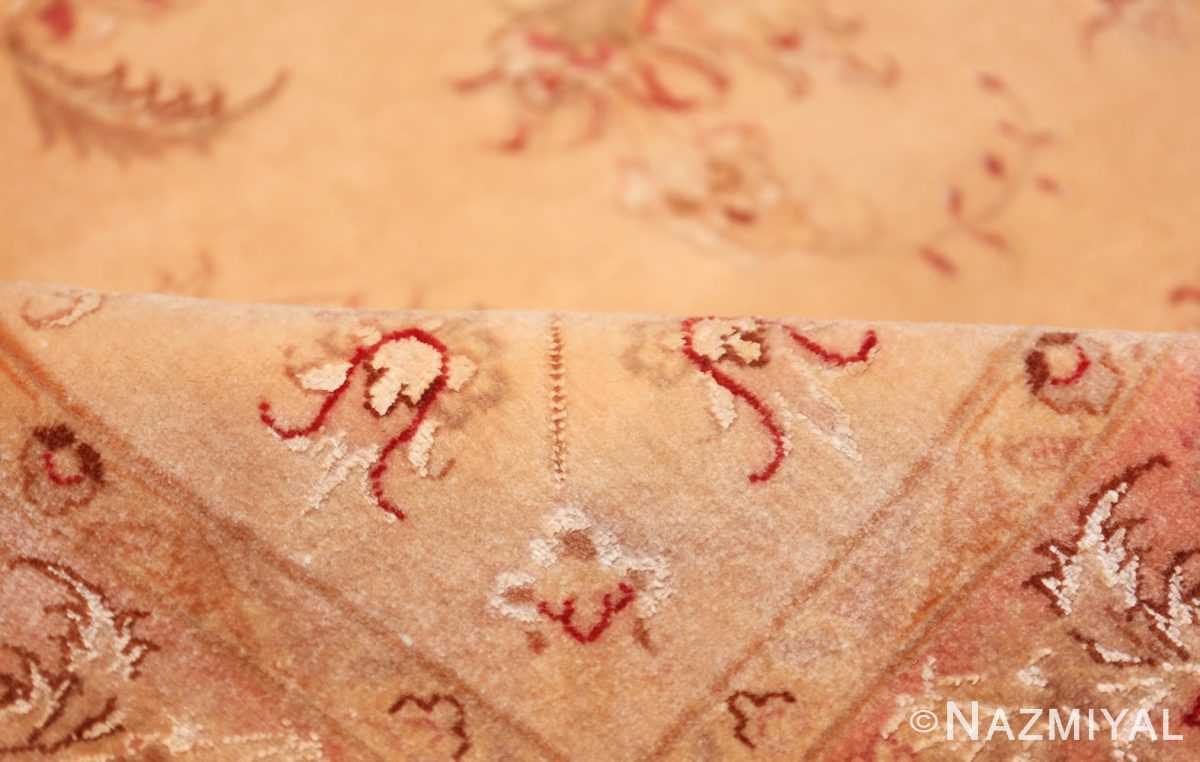 square silk and wool vintage tabriz persian rug 60026 pile Nazmiyal