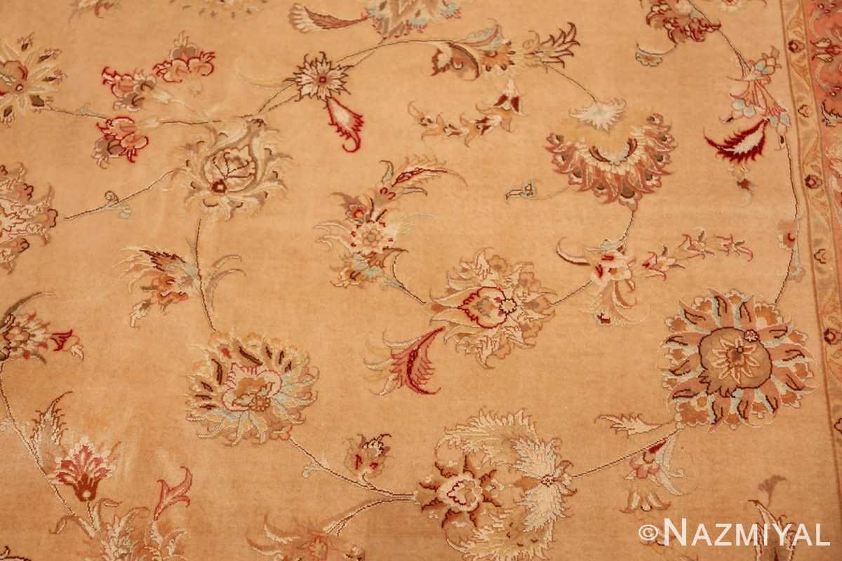square silk and wool vintage tabriz persian rug 60026 scrolls Nazmiyal