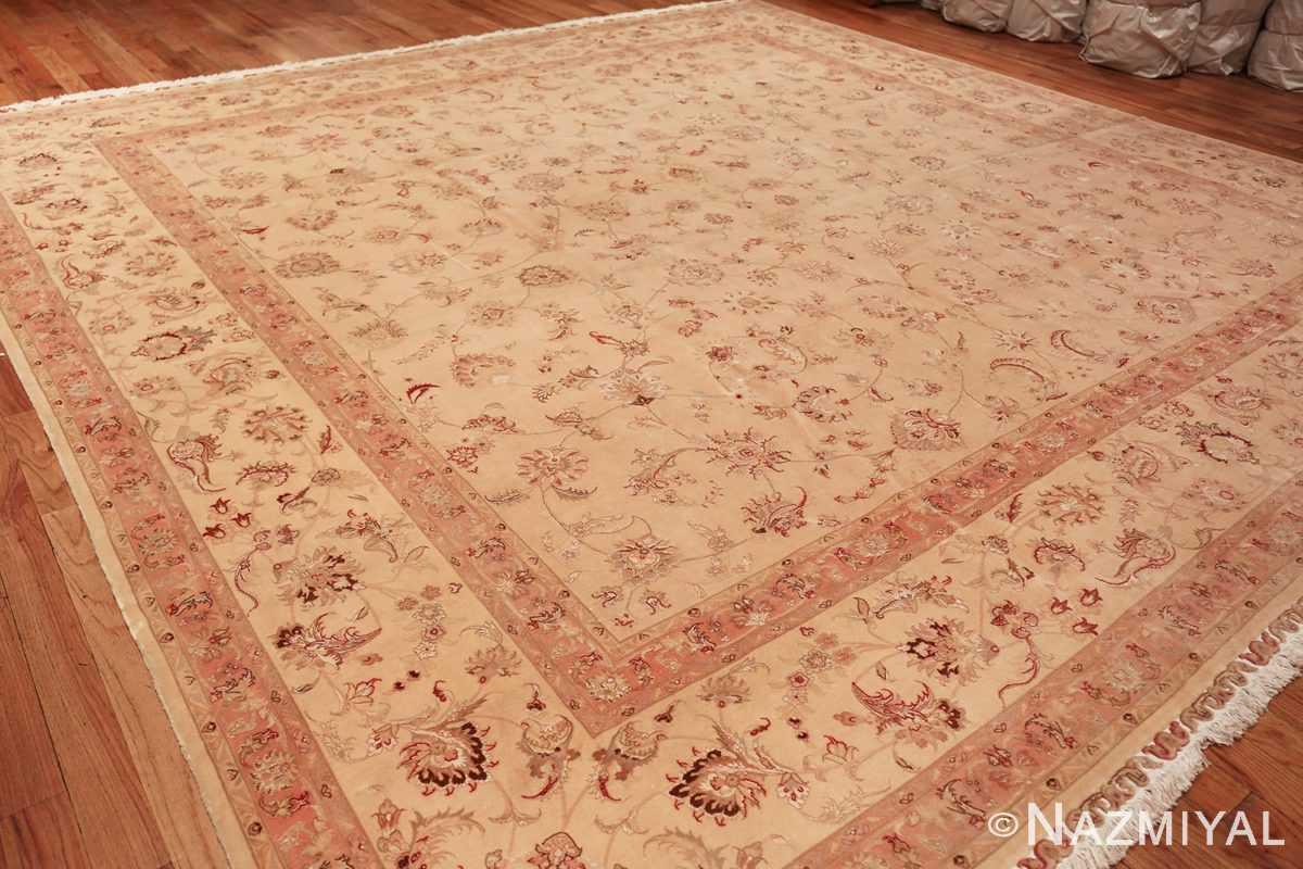 square silk and wool vintage tabriz persian rug 60026 side Nazmiyal