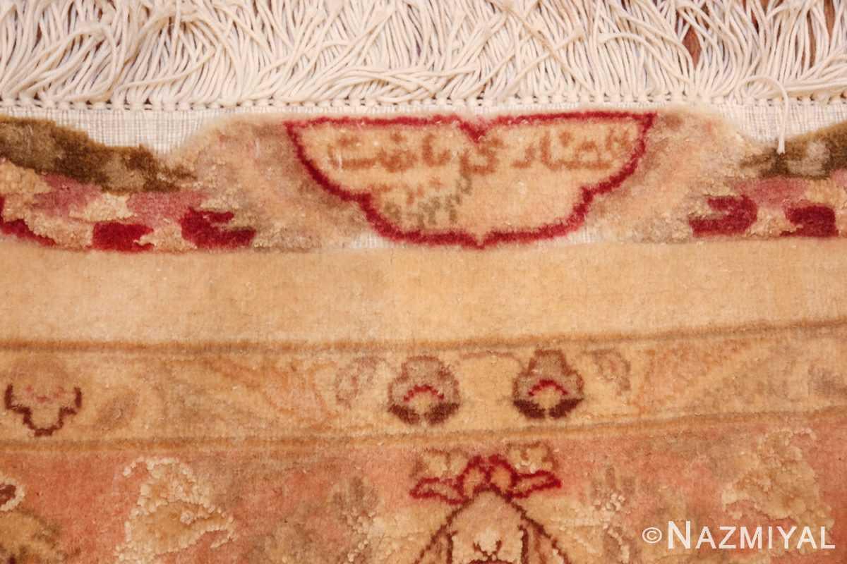 square silk and wool vintage tabriz persian rug 60026 signature Nazmiyal