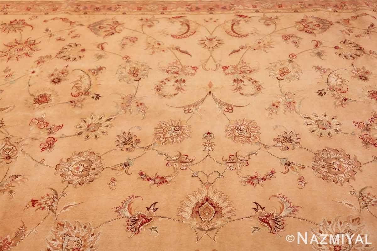 square silk and wool vintage tabriz persian rug 60026 top Nazmiyal