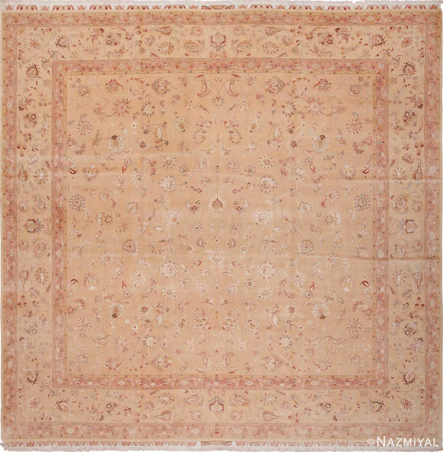 Modern Persian Tabriz Design Rug 44687 Nazmiyal Antique Rugs: Square Vintage Silk And Wool Persian Tabriz Rug 60026 Nazmiyal