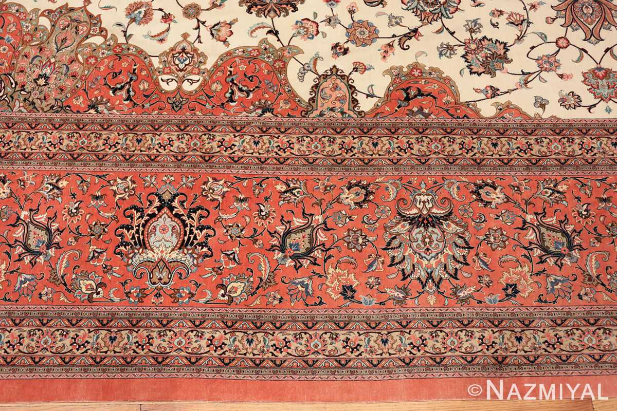 vintage large oversized persian silk qum rug 60037 border Nazmiyal