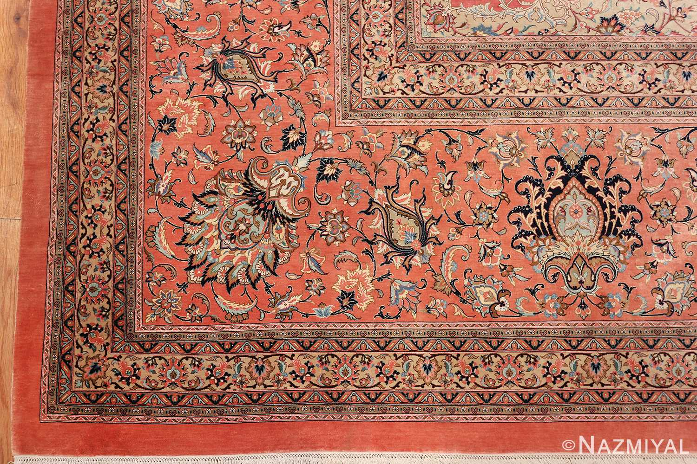 vintage large oversized persian silk qum rug 60037 corner Nazmiyal