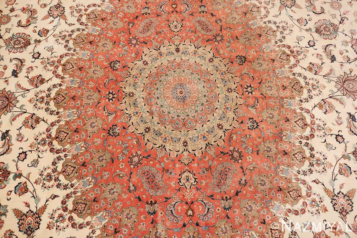 vintage large oversized persian silk qum rug 60037 field Nazmiyal