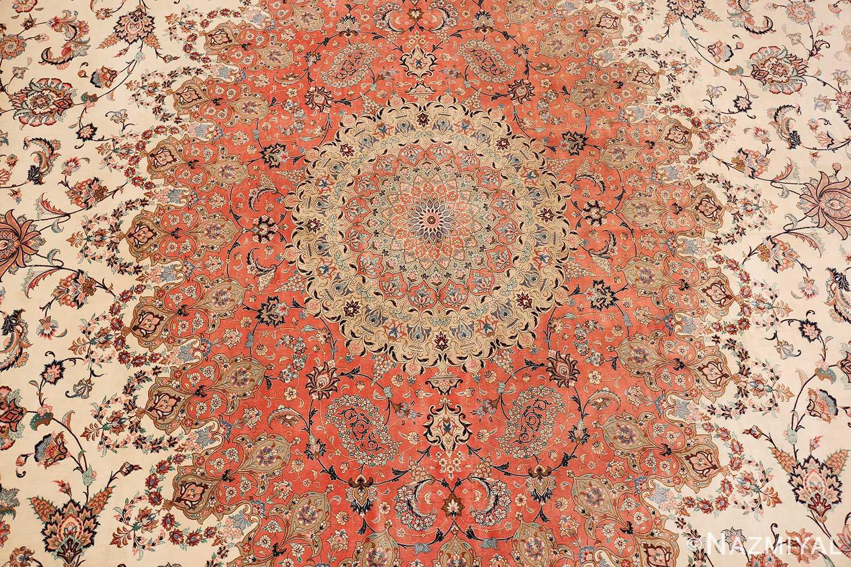vintage large oversized persian silk qum rug 60037 field Nazmiyal