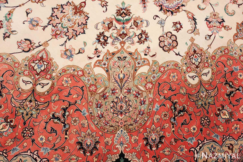 vintage large oversized persian silk qum rug 60037 green Nazmiyal