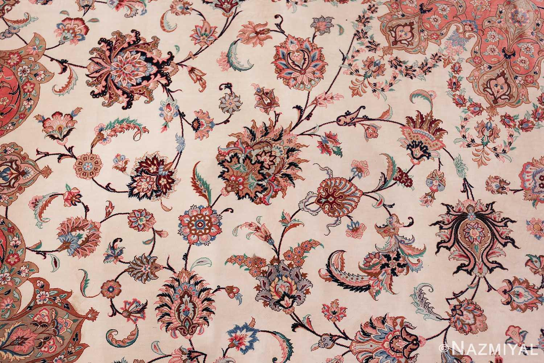 vintage large oversized persian silk qum rug 60037 ivory Nazmiyal