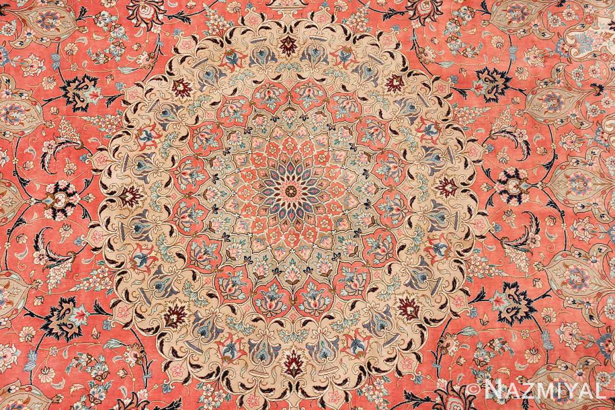vintage large oversized persian silk qum rug 60037 medallion Nazmiyal