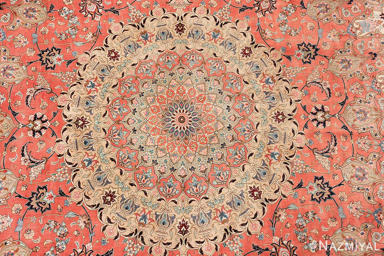 vintage large oversized persian silk qum rug 60037 medallion Nazmiyal