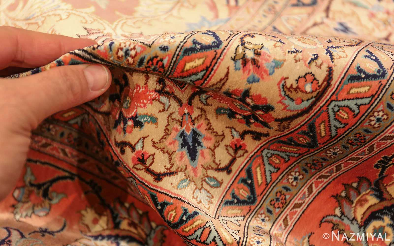 vintage large oversized persian silk qum rug 60037 pile Nazmiyal