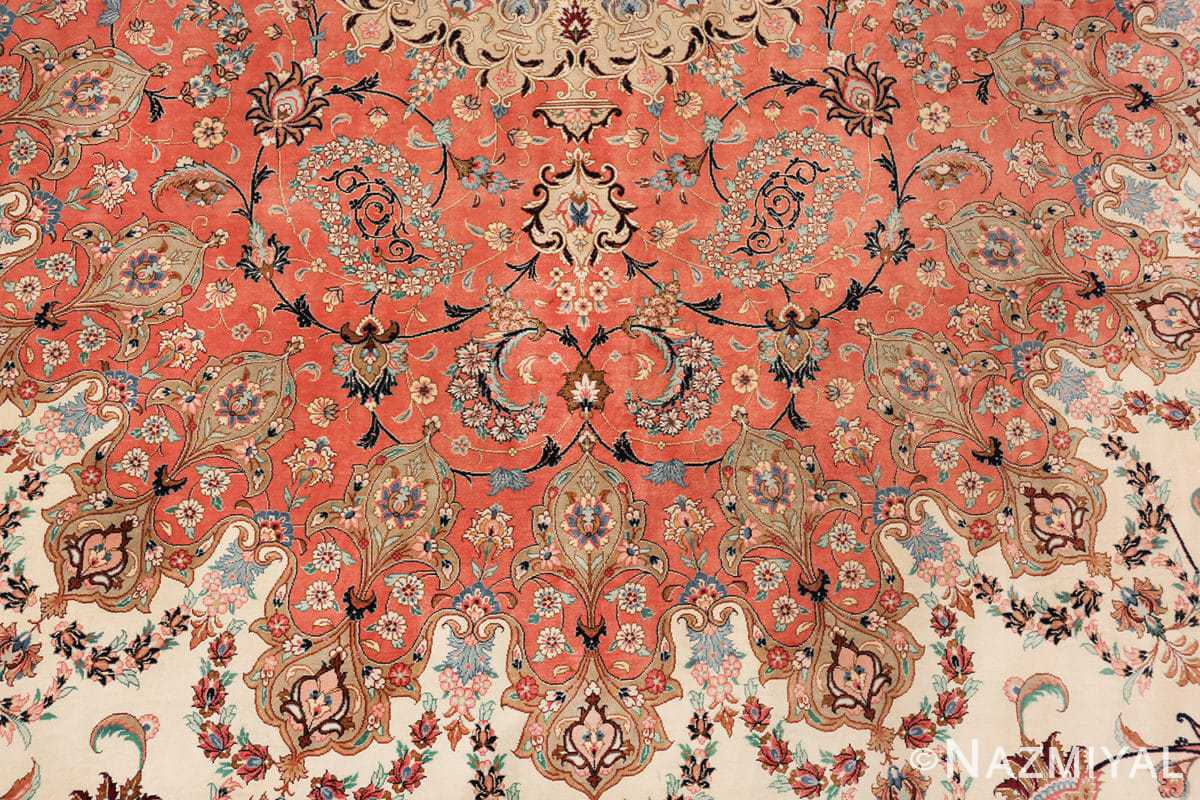 vintage large oversized persian silk qum rug 60037 wreath Nazmiyal