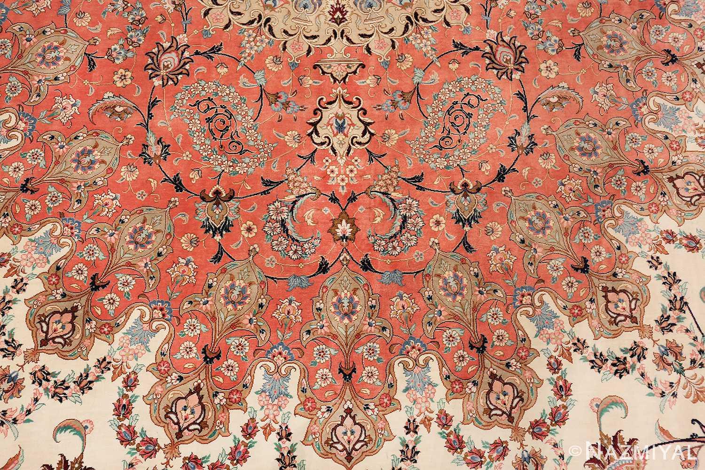 vintage large oversized persian silk qum rug 60037 wreath Nazmiyal