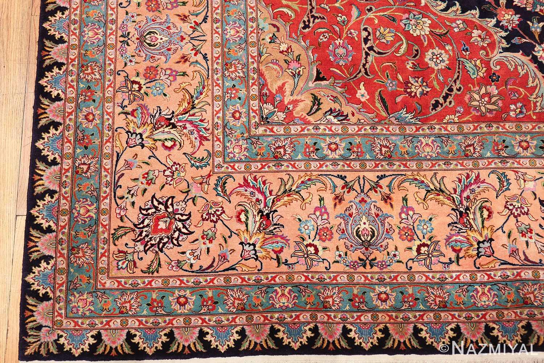 vintage large wool and silk persian tabriz rug 60044 corner Nazmiyal