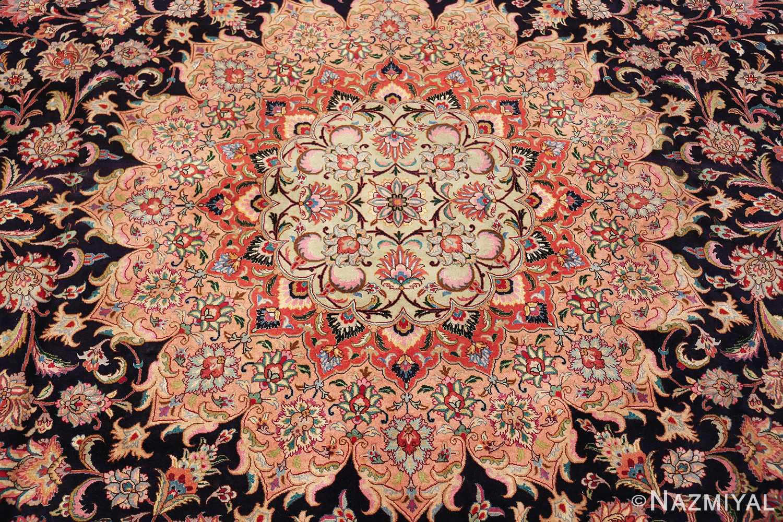 vintage large wool and silk persian tabriz rug 60044 medallion Nazmiyal