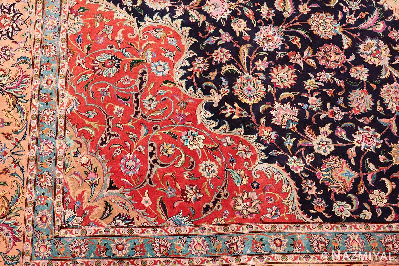 vintage large wool and silk persian tabriz rug 60044 part Nazmiyal