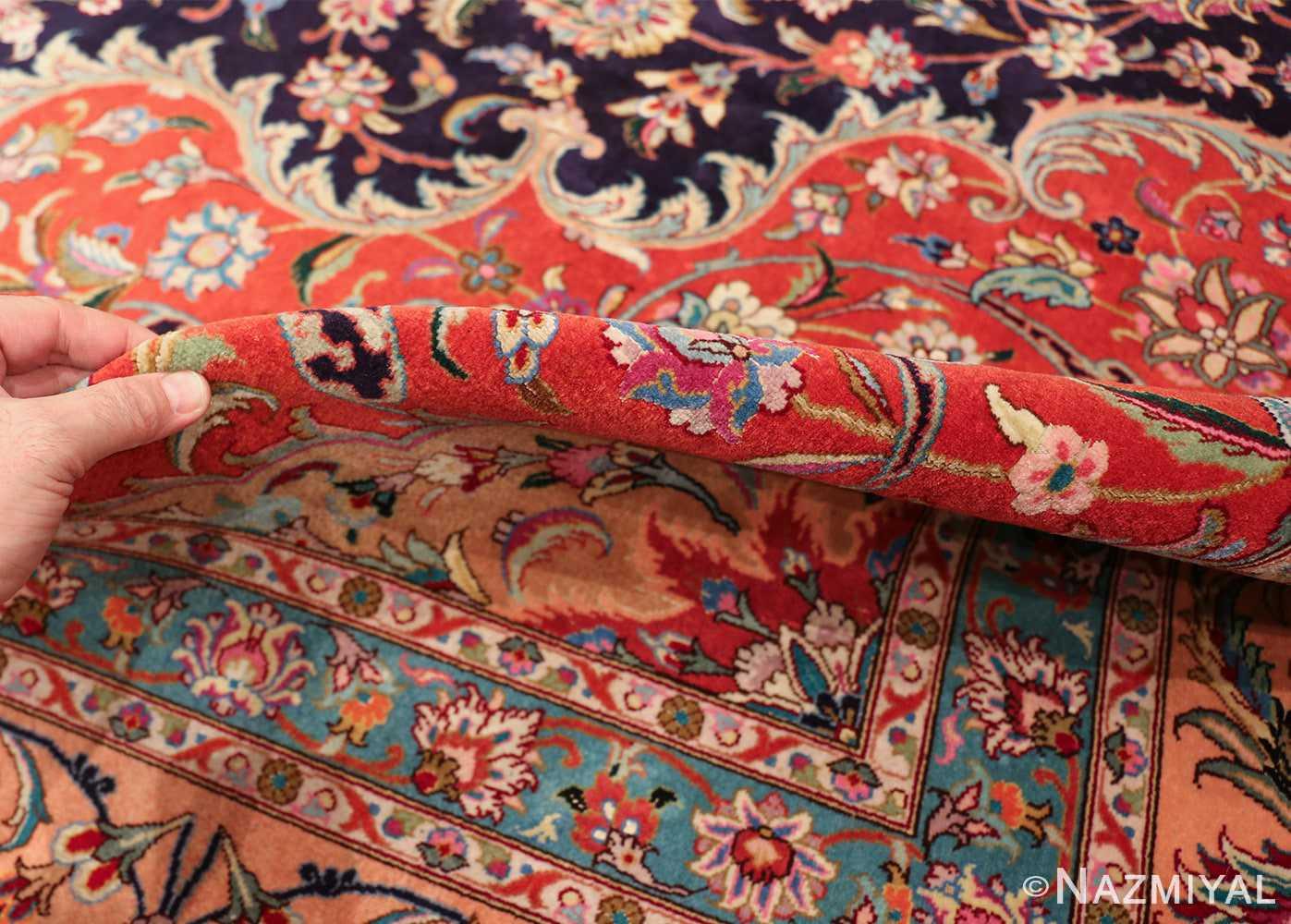 vintage large wool and silk persian tabriz rug 60044 pile Nazmiyal