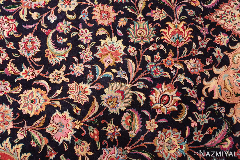 vintage large wool and silk persian tabriz rug 60044 scrolls Nazmiyal
