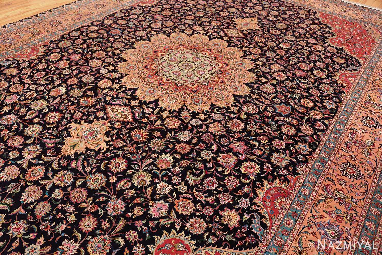 vintage large wool and silk persian tabriz rug 60044 side Nazmiyal