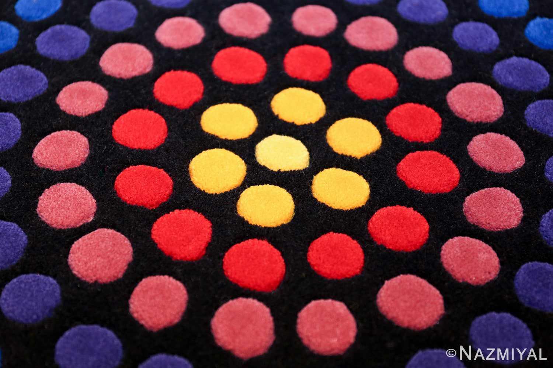 vintage round scandinavian verner panton polka dot rug 49684 colors Nazmiyal