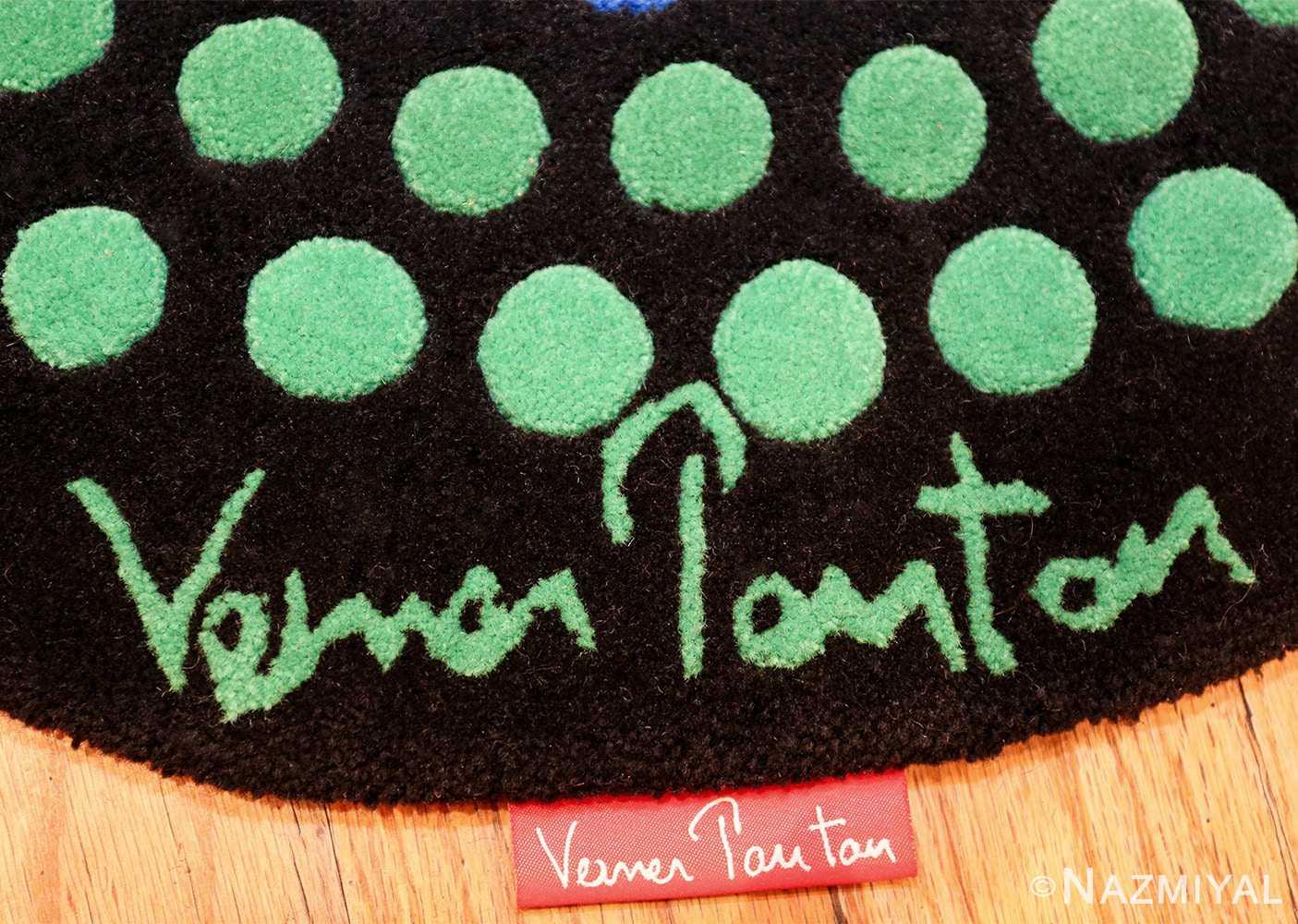 vintage round scandinavian verner panton polka dot rug 49684 red Nazmiyal