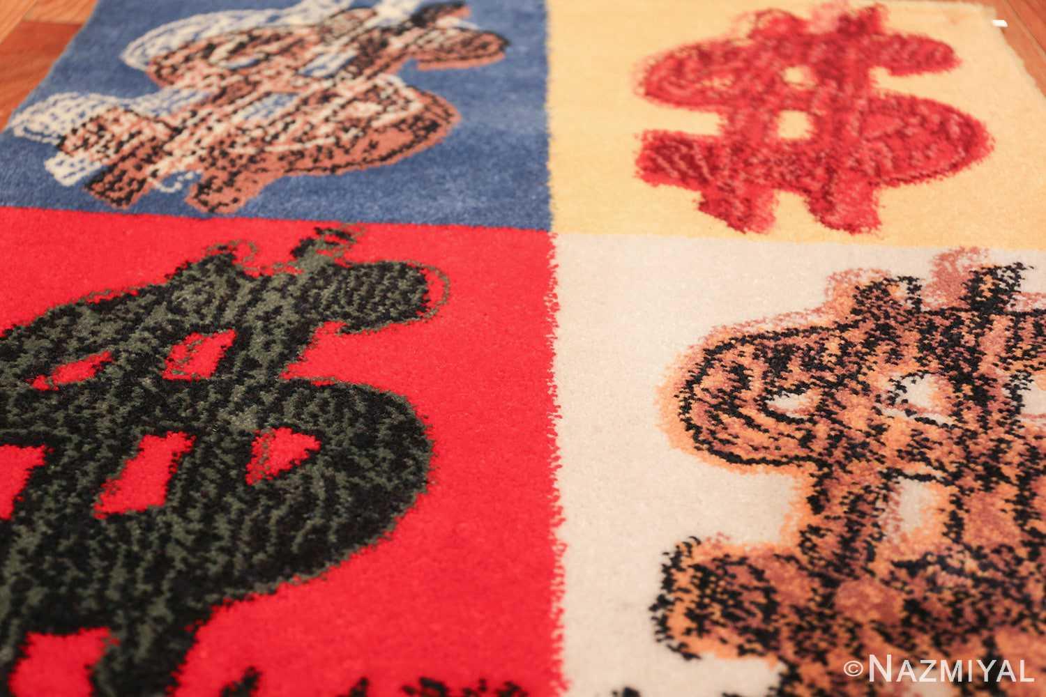 vintage scandinavian andy warhol dollar sign art rug 49671 field Nazmiyal