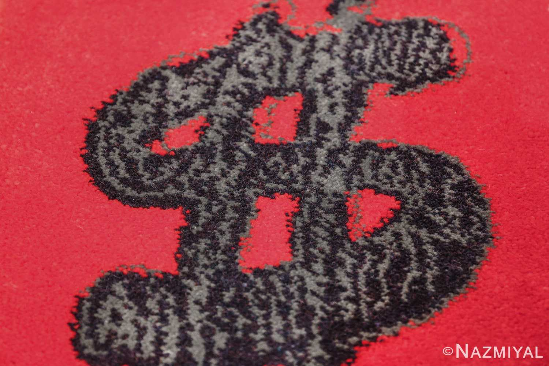 vintage scandinavian andy warhol dollar sign art rug 49671 red Nazmiyal