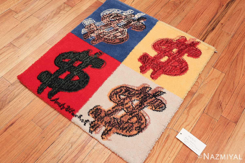 vintage scandinavian andy warhol dollar sign art rug 49671 side Nazmiyal