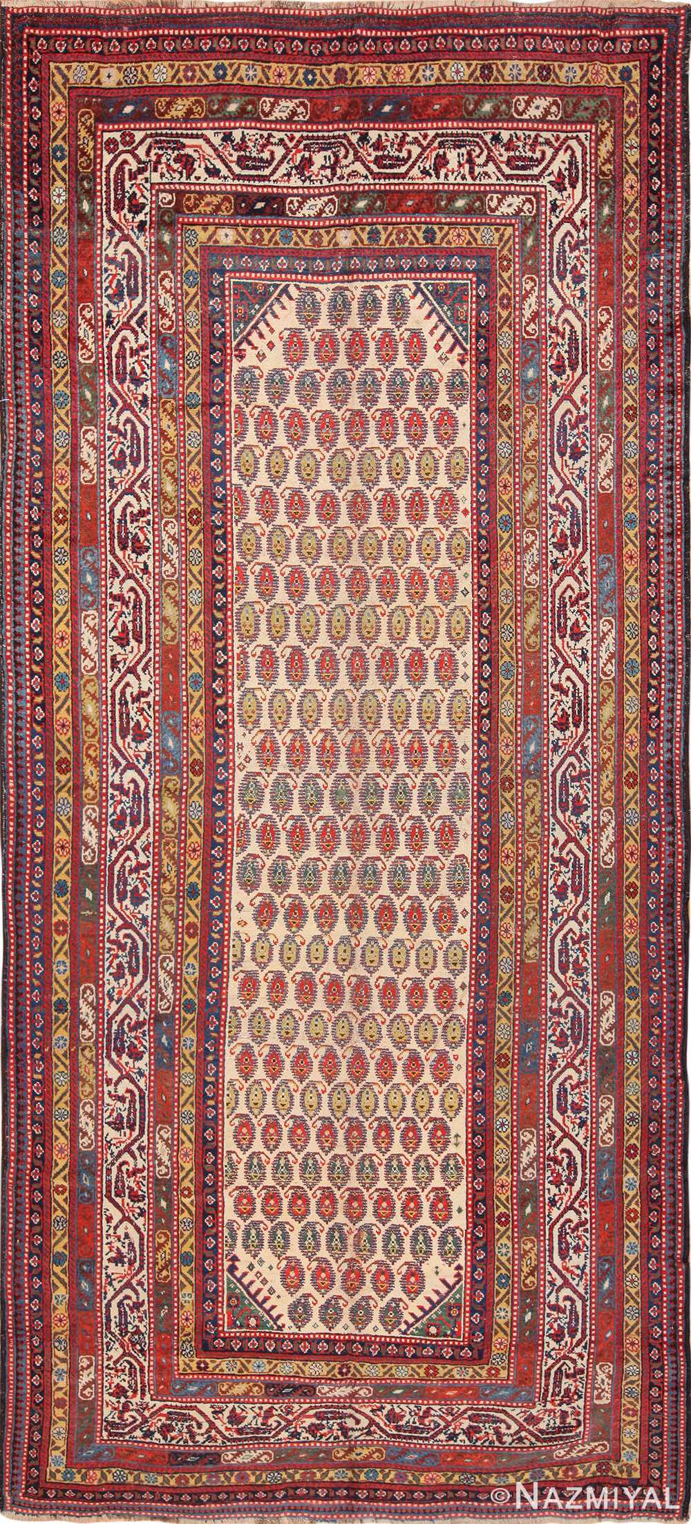 Wide Hallway Antique Tribal Persian Qashqai Runner Rug 49425 by Nazmiyal