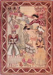 Small Pictorial Antique Biblical Persian Kerman Rug 49735 Nazmiyal