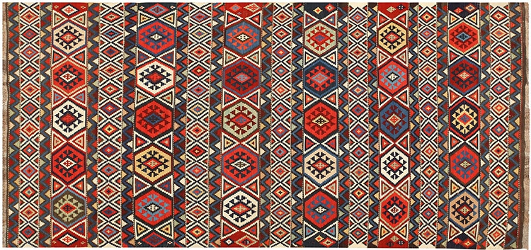Antique Caucasian Flat Weave Kilim Rug 48420 by Nazmiyal