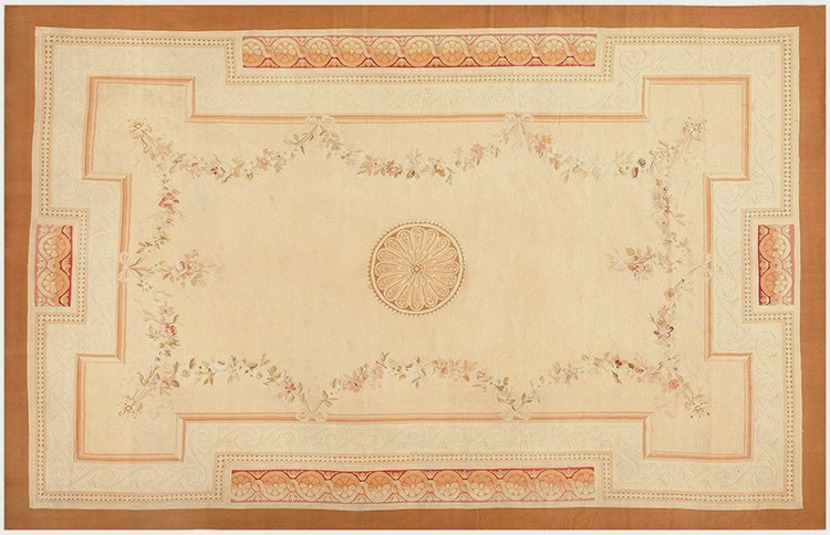 Antique Aubusson Flat Weave Rug 50295 by Nazmiyal