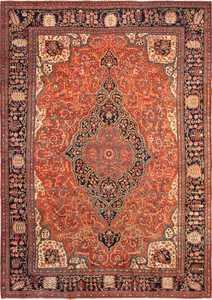 Large Rust Color Antique Persian Sarouk Farahan Rug 49468 - Nazmiyal