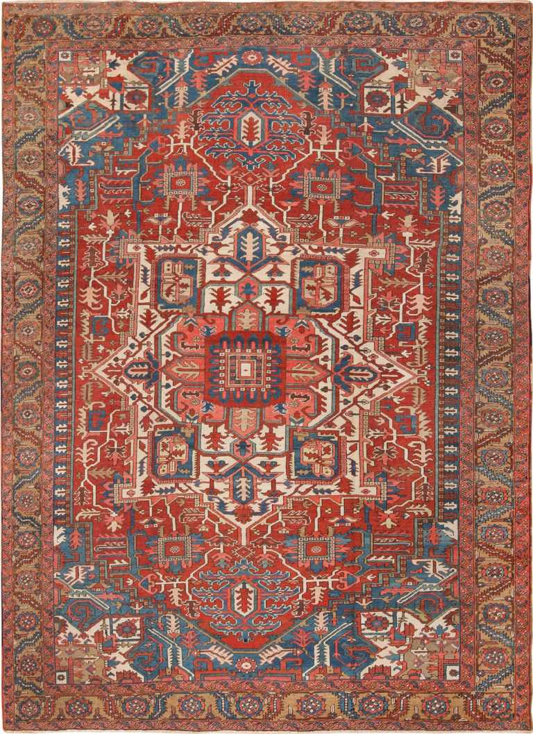 Room Size Antique Persian Heriz Rug 49478 Nazmiyal