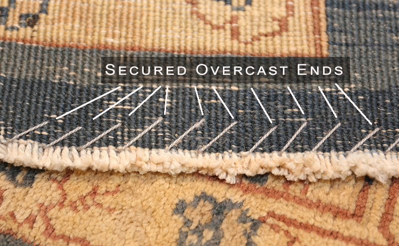 Rug With Secured Overcast End - Nazmiyal