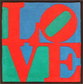 Modern Small Size Pop Art Love Rug by Robert Indiana 49739 Nazmiyal