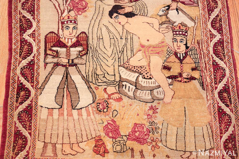 antique biblical persian kerman rug 49735 angels Nazmiyal