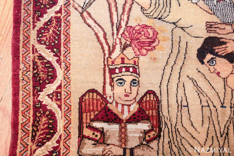 antique biblical persian kerman rug 49735 border Nazmiyal