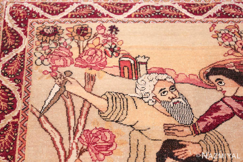 antique biblical persian kerman rug 49735 flower Nazmiyal