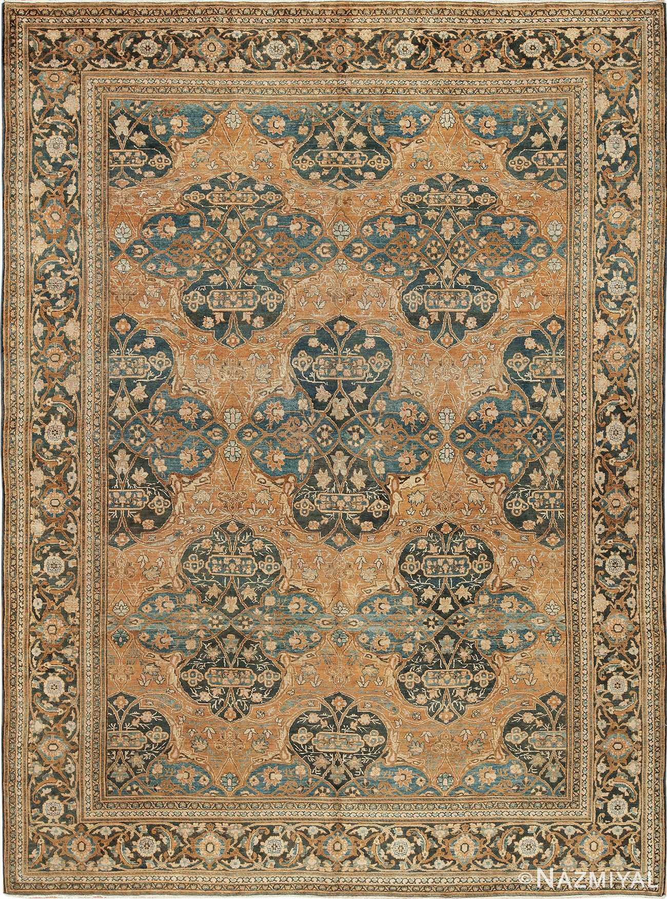Antique Neutral Earth Tone Color Persian Khorassan Rug 49708 by Nazmiyal