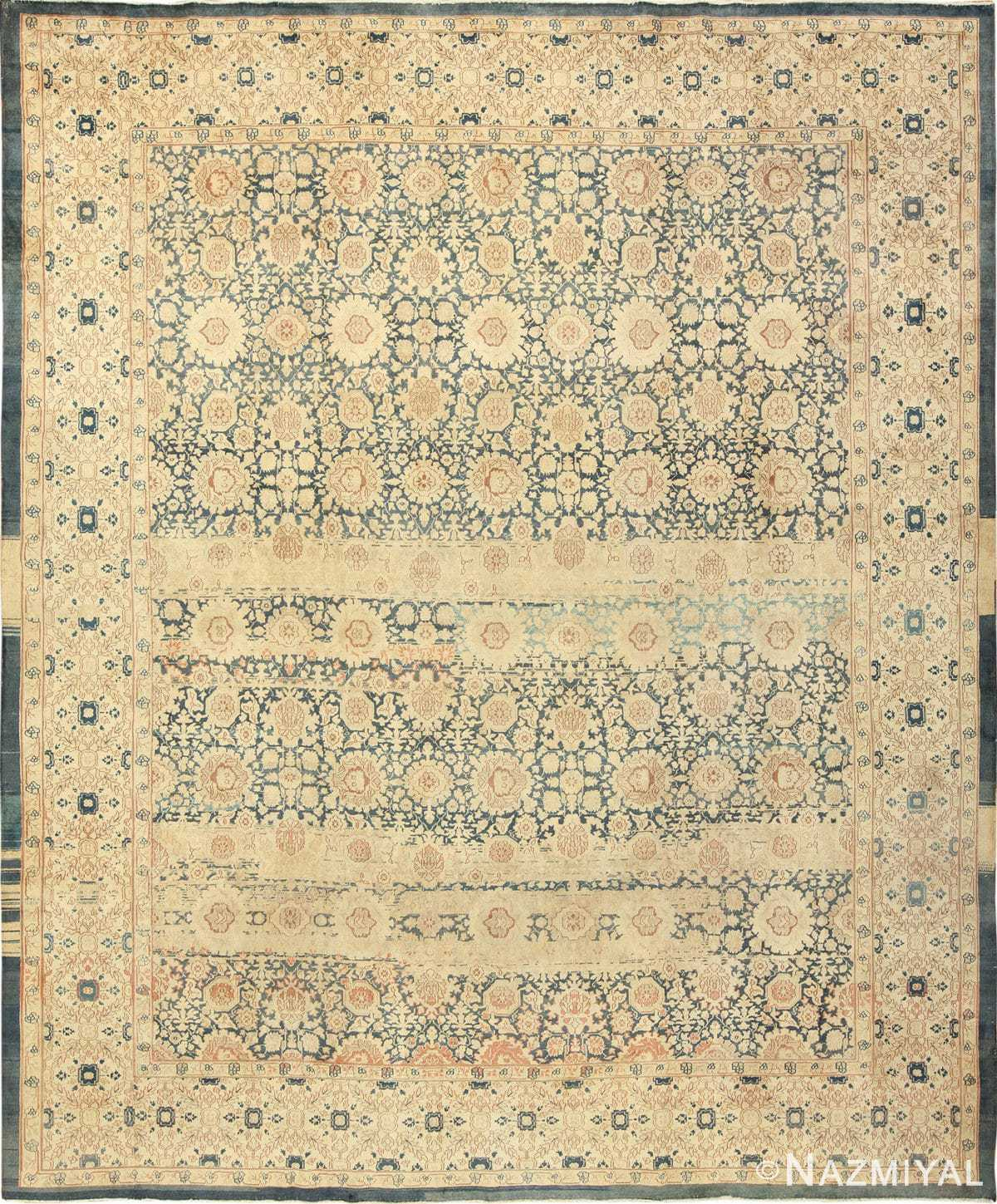 Antique Light Blue Color Persian Tabriz Rug 49714 by Nazmiyal