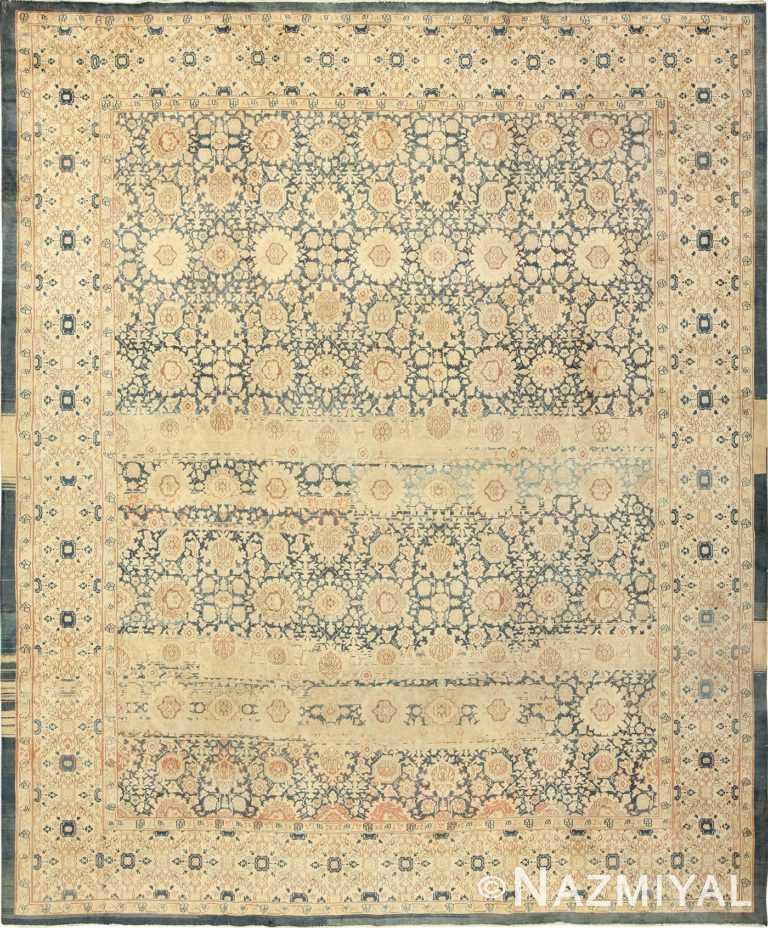 Antique Light Blue Color Persian Tabriz Rug 49714 by Nazmiyal