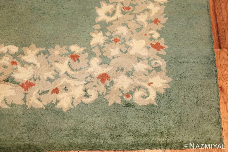antique green color square french art deco rug by leleu 49690 corner Nazmiyal