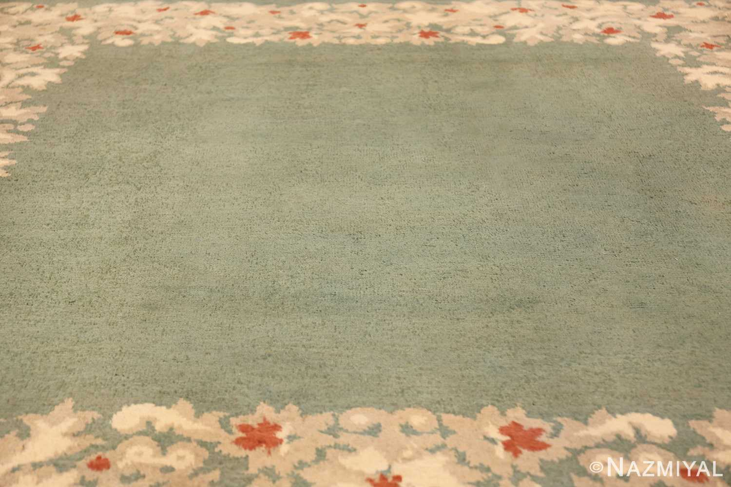antique green color square french art deco rug by leleu 49690 field Nazmiyal