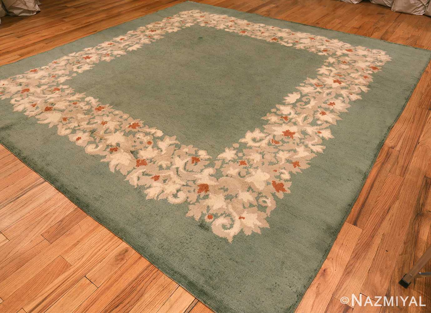 antique green color square french art deco rug by leleu 49690 part Nazmiyal
