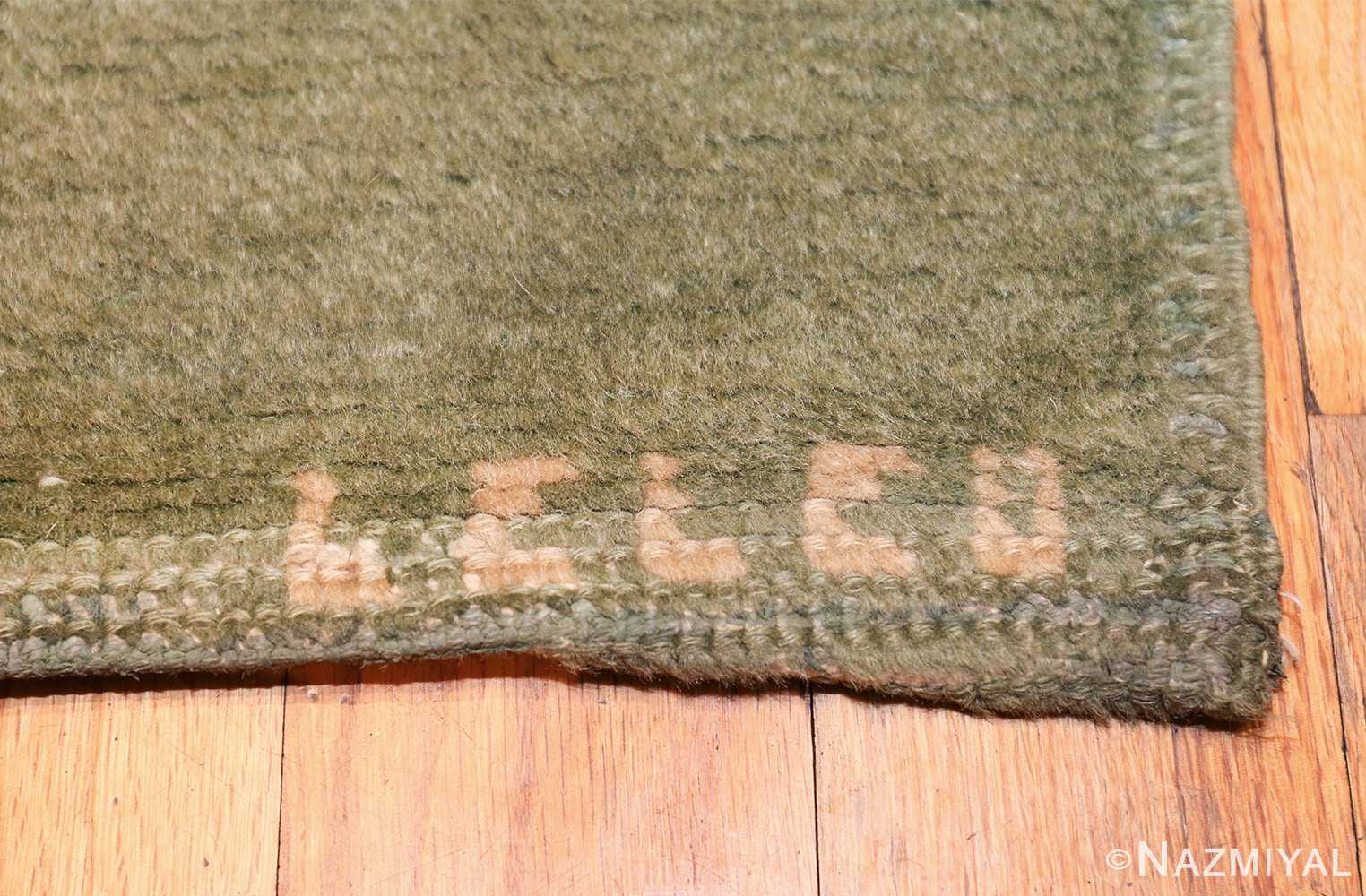 antique green color square french art deco rug by leleu 49690 signature Nazmiyal