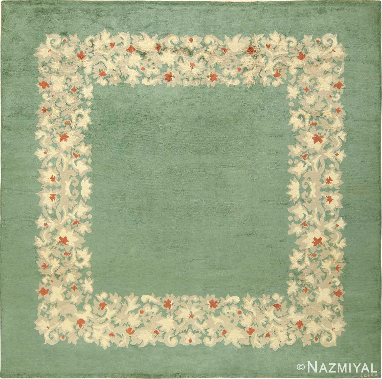 Antique Green Color Square French Art Deco Rug by Leleu 49690 by Nazmiyal