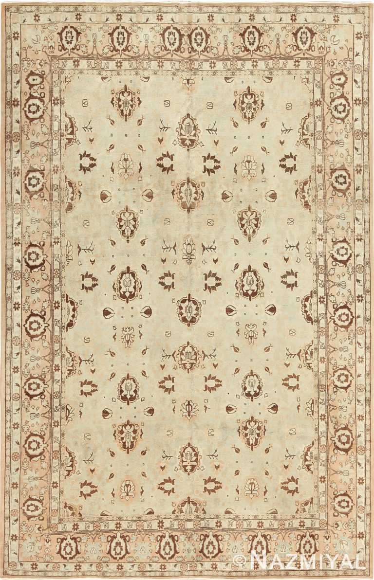 Antique Light Blue and Brown Persian Tabriz Rug 49707 by Nazmiyal
